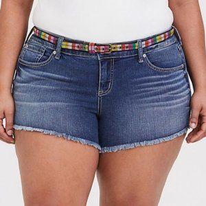 Torrid Cut Off Denim Frayed Hem Jean Shorts